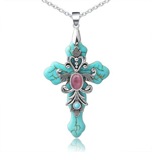 Cross Necklace Cross Pendant Religious Necklace Turquoise Necklace