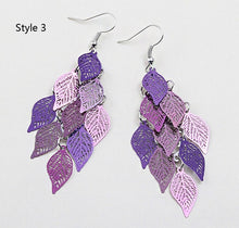 Load image into Gallery viewer, Fashion seven color small nine leaf earrings