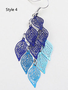 Fashion seven color small nine leaf earrings