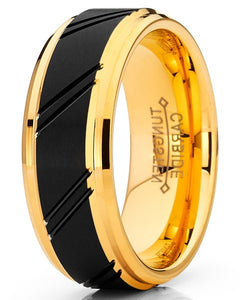 8mm Duo Tungsten Carbide Black and Gold Tone Ring Comfort Fit