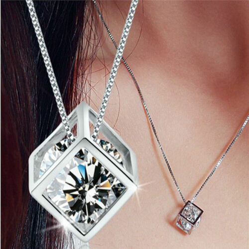 Fashion Magic Cube Silver Crystal Chain Necklace Pendant