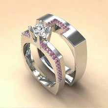 Load image into Gallery viewer, Elegantes 2 teiliges Damen Ring Set 925 Silber und Weißem Saphir