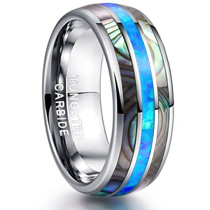 Men'S Tungsten Steel Carbide Inlaid Shells Blue Opal Ring