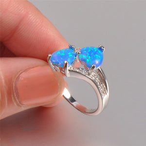 925 Sterling Silver Double Heart White Blue Fire Opal CZ Gemstone Ring