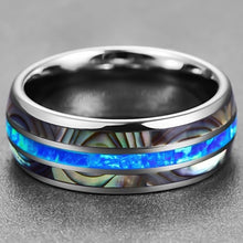 Load image into Gallery viewer, Men'S Tungsten Steel Carbide Inlaid Shells Blue Opal Ring