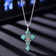 Load image into Gallery viewer, Cross Necklace Cross Pendant Religious Necklace Turquoise Necklace