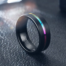 Load image into Gallery viewer, Men's 8MM Width And Thickness 2.5mm Black Grooved Seven-color High-grade Ring