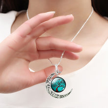 Load image into Gallery viewer, Colorful Life Tree Art Picture Pendant Chain Crescent Moon Necklace Stud Earrings Bracelet Bangle Set