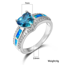 Load image into Gallery viewer, 925 Sterling Silver Blue Fire Opal Heart Aquamarine Gemstone Ring