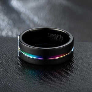 Men's 8MM Width And Thickness 2.5mm Black Grooved Seven-color High-grade Ring