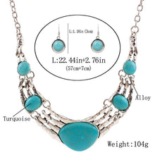 Load image into Gallery viewer, European Retro Vintage Pattern Oval Turquoise Necklace Earrings Jewelry Set