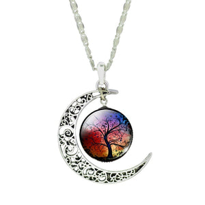 Colorful Life Tree Art Picture Pendant Chain Crescent Moon Necklace Stud Earrings Bracelet Bangle Set