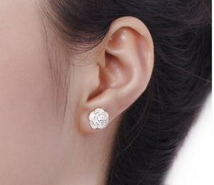 Exquisite 925 Sterling Silver Simple and Exquisite Multi-layered Lotus Rose Earrings and Ear Studs