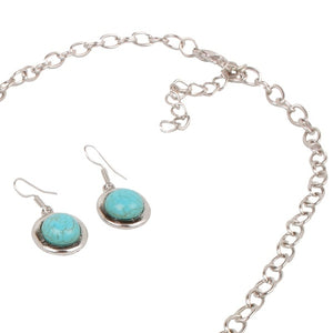 European Retro Vintage Pattern Oval Turquoise Necklace Earrings Jewelry Set