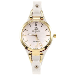 Women's Casual Watch Elegant Round Dial Studded PU Leather Strap
