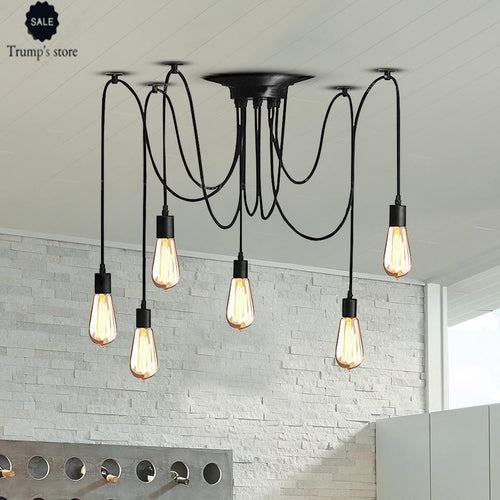 Ajustable DIY Ceiling Spider Light Rustic Chandelier Industrial Hanging Light