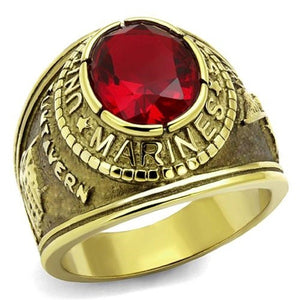 New Stainless Steel Gold IP Men's Red Oval Military Marines Ring