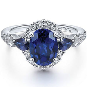 Exquisite 925 Standard Sterling Silver Blue Diamond Ring