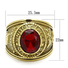 Load image into Gallery viewer, New Stainless Steel Gold IP Men's Red Oval Military Marines Ring