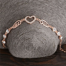 Load image into Gallery viewer, 18k Rose Gold Plated Zircon Bracelets Angle Wings Bracelet For Women