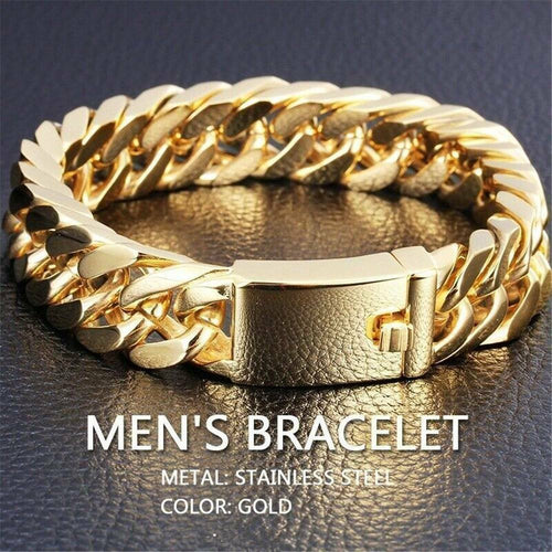 14mm Men Solid Gold Stainless Steel Curb Chain Bracelet