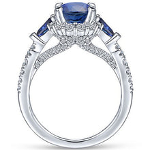 Load image into Gallery viewer, Exquisite 925 Standard Sterling Silver Blue Diamond Ring