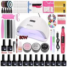 Load image into Gallery viewer, Manicure Set Acrylic Nail Kit with Uv LED Lamp Electronic Nail Drill Polygel Nail Kits