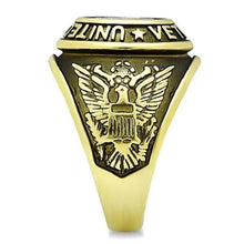 Load image into Gallery viewer, New Men's Stainless Steel Gold IP US Veteran Military Ring