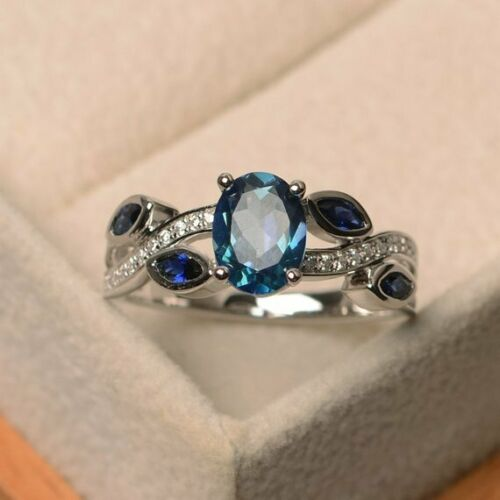 Eleganter 925 Sterling Silber Aquamarine Damen Ring