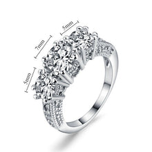 Load image into Gallery viewer, 925 Sterling Silver White Sapphire Ring for Woman 14KT White Gold Filled