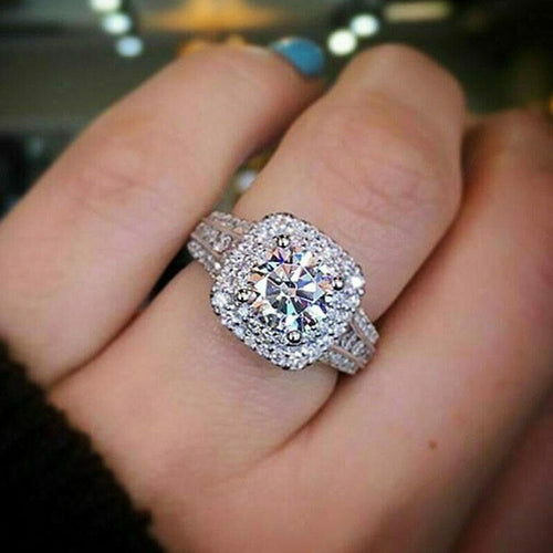 Luxury 925 Sterling Silver White Sapphire Ring High quality