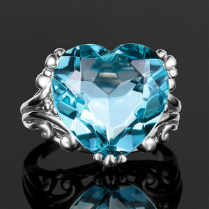 Edler Aquamarin 925 Silber Damen Ring in Herz Form