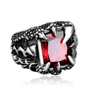 316L Stainless Steel Vintage Gothic Men Dragon Claw Ruby Ring