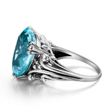 Load image into Gallery viewer, Edler Aquamarin 925 Silber Damen Ring in Herz Form