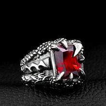 Load image into Gallery viewer, 316L Stainless Steel Vintage Gothic Men Dragon Claw Ruby Ring