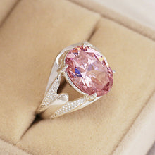 Load image into Gallery viewer, 925 Oval Schliff Pink Saphir Damen Ring