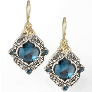 Shiny 925 Standard Silver Natural Jewellery Blue Sapphire 14K Gold Earrings