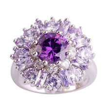 Load image into Gallery viewer, Fashion women Ring Silver Round Purple Gems Amethyst
