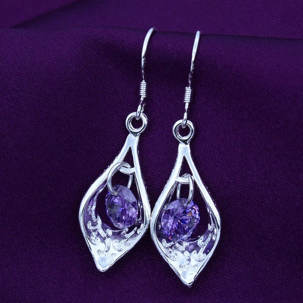 Glamour Shiny 925 Sterling Silver Morning Glory Amethyst Drop Earring