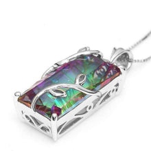 Load image into Gallery viewer, 925 Silver Mystic Rainbow Topaz Pendant Chain 22inch Chocker Necklace