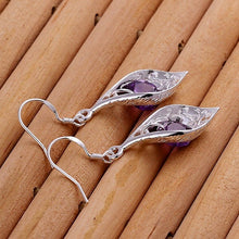 Load image into Gallery viewer, Glamour Shiny 925 Sterling Silver Morning Glory Amethyst Drop Earring