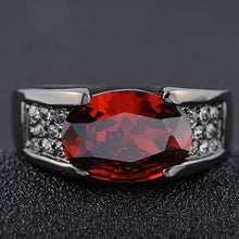 Load image into Gallery viewer, Solitaire Red Garnet Fashion Black 18K Gold Filled Man's Rings