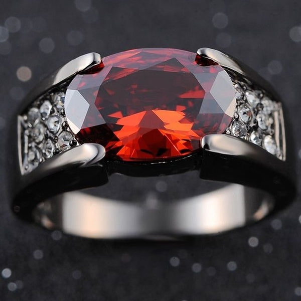 Solitaire Red Garnet Fashion Black 18K Gold Filled Man's Rings