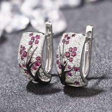 Load image into Gallery viewer, Dazzling 925 Sterling Silver Natural Gemstone Diamond Floral Earrings