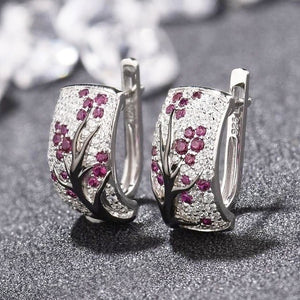 Dazzling 925 Sterling Silver Natural Gemstone Diamond Floral Earrings