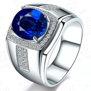 Exquisite 925 Pure Silver Rings 10.25ct Natural Sapphire Business Men's Ring