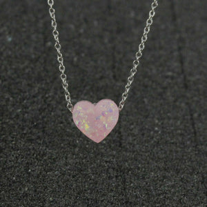 925 Plated Silver Plated 10mm Opal Love Heart Gemstone Jewelry Pendant Necklace