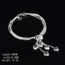 Load image into Gallery viewer, 925 Silver Fashion Bracelet Jewelry Heart Pendant Classic Stylish Bracelet