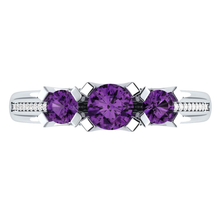 Load image into Gallery viewer, 925 Sterling Silver Jewelry Round Cut Amethyst Ring