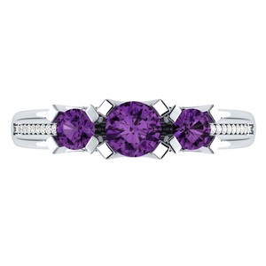 925 Sterling Silver Jewelry Round Cut Amethyst Ring